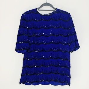 Scala Vintage Beaded Silk Blouse Blue Size Medium